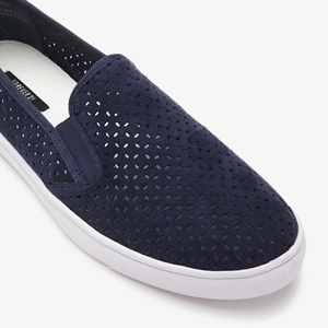 Forever 21   Navy Perforated Faux Suede Slip Ons